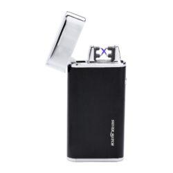 USB zapalovač Silver Match Balham 2ARC, el. oblouk, černý-Elegantní USB zapalovač s elektrickým zapalováním. USB zapalovač využívá k zapálení elektrický oblouk, namísto tradičního plynu. V zapalovači je integrovaný MicroUSB port, kterým se USB zapalovač dobíjí. V balení je přiložen nabíjecí MicroUSB-USB kabel. Doba nabíjení USB zapalovače cca 1-2,5 hodiny. Výška zapalovače 7,5cm. Zapalovač je dodáván v dárkové krabičce.
