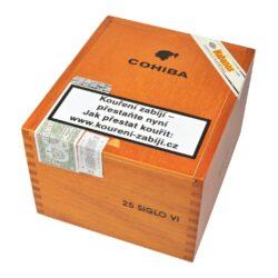 Doutníky Cohiba Siglo VI, 25ks-Kubánské doutníky Cohiba Siglo VI. Jeden z nejprodávanějších typů doutníků značky Cohiba, který se dostal na trh během roku 2003. Doutník Siglo VI voní typickou kubánskou vůní. Jeho výrazná nasládlá chuť po třtinovém cukru s lehkou příchutí vanilky je velmi příjemná. Dle hodnocení je Siglo VI jeden z nejlepších doutníků, který značka Cohiba nabízí. Doba hoření cca 80 min. Doutníky jsou balené po 25 ks v dřevěné krabici s logem Cohiba a prodávají se pouze po celém balení.  Délka: 150 mm Průměr: 20,6 mm Velikost prstýnku: 52 Tvar/velikost doutníku: Toro Typ doutníku dle skladování: doutník vlhký  Původ doutníku: Kuba Krycí list: Kuba Vázací list: Kuba Náplň: Kuba  Hodnocení doutníku Cohiba Siglo VI: 19. místo s 92 body ze 100 v odborném magazínu Cigar Aficionado v hodnocení Top 25 Cigars of 2018 19. místo s 93 body ze 100 v odborném magazínu Cigar Aficionado v hodnocení Top 25 Cigars of 2016