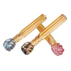 Šlukovka skleněná HM barevná, mix-Skleněná šlukovka HM. Čirá rovná skleněnka v barevném provedení. Šlukovka je vyráběna ručně v ČR. Délka 7,9 cm.