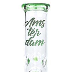 Skleněný bong s perkolací Amsterdam Ice zelený 19cm(02930MIXG)