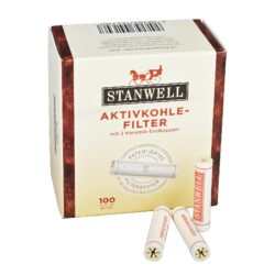 Filtry do dýmky, Stanwell, 100ks, 9mm-Celokeramické filtry do dýmky 9mm. Uhlíkový filtr do dýmky je vyroben z nechlorovaného filtrového papíru a je naplněn aktivním uhlím. Dýmkové filtry Stanwell mají velmi dobré absorpční schopnosti, výborně zachycují dehet z kondezátu a další škodliviny z tabáku. Tyto filtry do dýmky vám dopřejí suché a chladné kouření. V balení 100 ks filtrů.