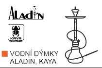 Velký výběr vodních dýmek Aladin a Kaya. Moderní hliníková vodní dýmka s eloxovaným povrchem, silikonovým šlauchem a kvalitním zpracováním, to jsou vodní dýmky Aladin a Kaya.