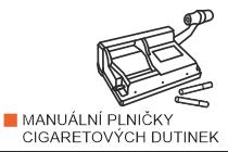 Plničky cigaretových dutinek, plničky cigaret. Elektrická plnička dutinek Powermatic II nebo Powermatic III skladem včetně pákové plničky Powermatic a OCB Mikromatic.