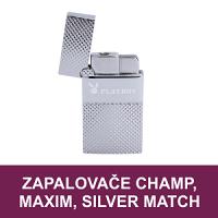 Kvalitní plynové zapalovače. Kovové žhavící nebo tryskové zapalovače, USB zapalovače značek Champ, Maxim, Silver Match. Oblíbené značkové zapalovače Playboy vhodné jako dárek, kterým potěšíte.