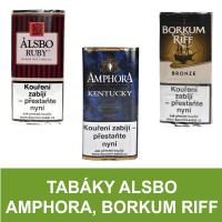 Kvalitní dýmkový tabák Alsbo, Borkum. Velký výběr i z jiných značek tabáků. Skladem.