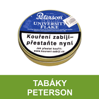Kvalitní dýmkový tabák Peterson. Velký výběr i z jiných značek tabáků. Skladem.