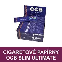 Oblíbené kvalitní cigaretové papírky OCB Slim Ultimate k balení cigaret. Nabízíme kompletní sortiment řady OCB Slim Ultimate - cigaretové papírky dlouhé, krátké, OCB Ultimate Rolls nebo papírky s filtry OCB Ultimate Slim+Filters.