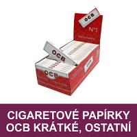 Oblíbené krátké cigaretové papírky OCB. Nabízíme kompletní sortiment značky OCB, nejen cigaretových papírků krátkého formátu jako jsou OCB Blue, OCB No. 8, OCB 1, OCB Orange a jiné. Vše skladem.