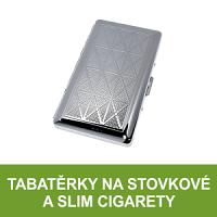 Tabatěrky a cigaretová pouzdra na stovkové cigarety, tabatěrky na slim cigarety, cigaretová pouzdra na dlouhé cigarety. Velký výběr, vše skladem.