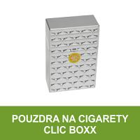 Pouzdro na cigarety Clic Boxx. Pouzdro (obal) na cigarety Clic Boxx - pouzdro na krabičku cigaret velikosti King Size (20ks). Též cigaretová pouzdra na stovkové cigarety a pouzdra na cigarety v BIG PACK balení (25ks).